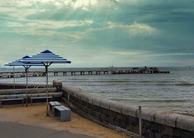 Market Umbrellas Cerberus Beach Sunset Rain