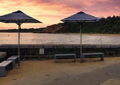 Market Umbrellas Cerberus Beach Sunset Colours