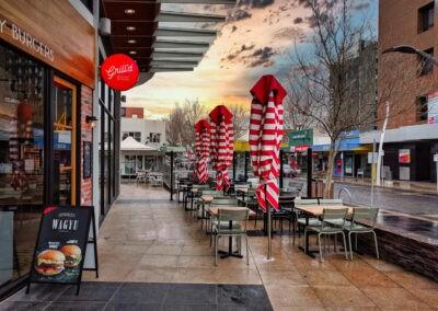 Market Umbrellas Closed Grill'd Sunset