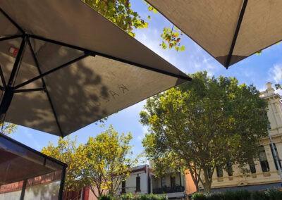 Natural Canvas Market Umbrellas Sky View